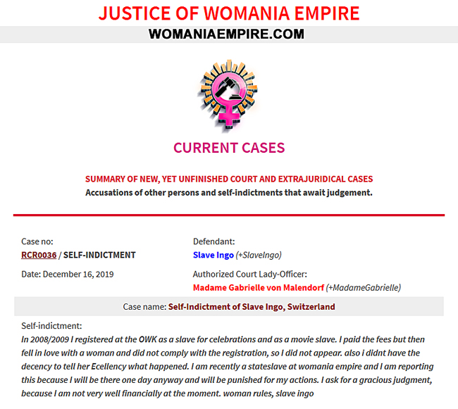 New Womania Court Case no.RCR0036