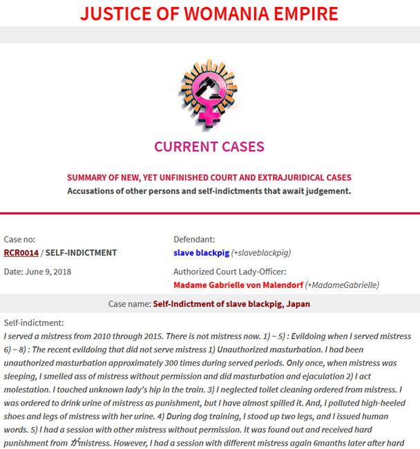 New self-indictment - Court Case no.RCR0014