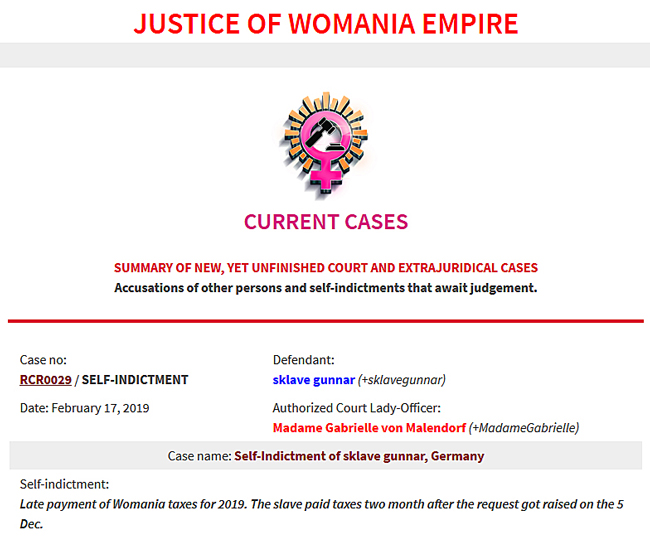 New Womania Court Case no.RCR0029