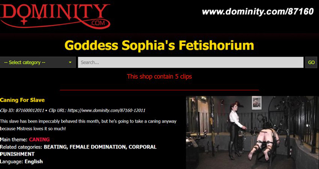 New shop on dominity.com - Goddess Sophia